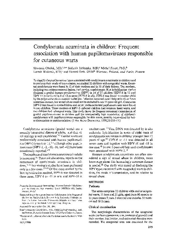 Terapii clasice și moderne ale verucilor cutanate și anogenitale, Condyloma acuminata in child