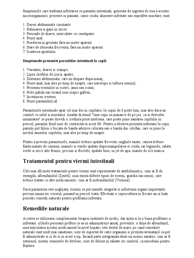 simptomele viermilor rotunzi în tratamentul adulților)