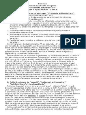 diagnosticul preparatelor parazitare)