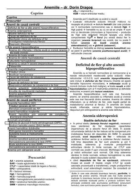 anemie cronica simpla)
