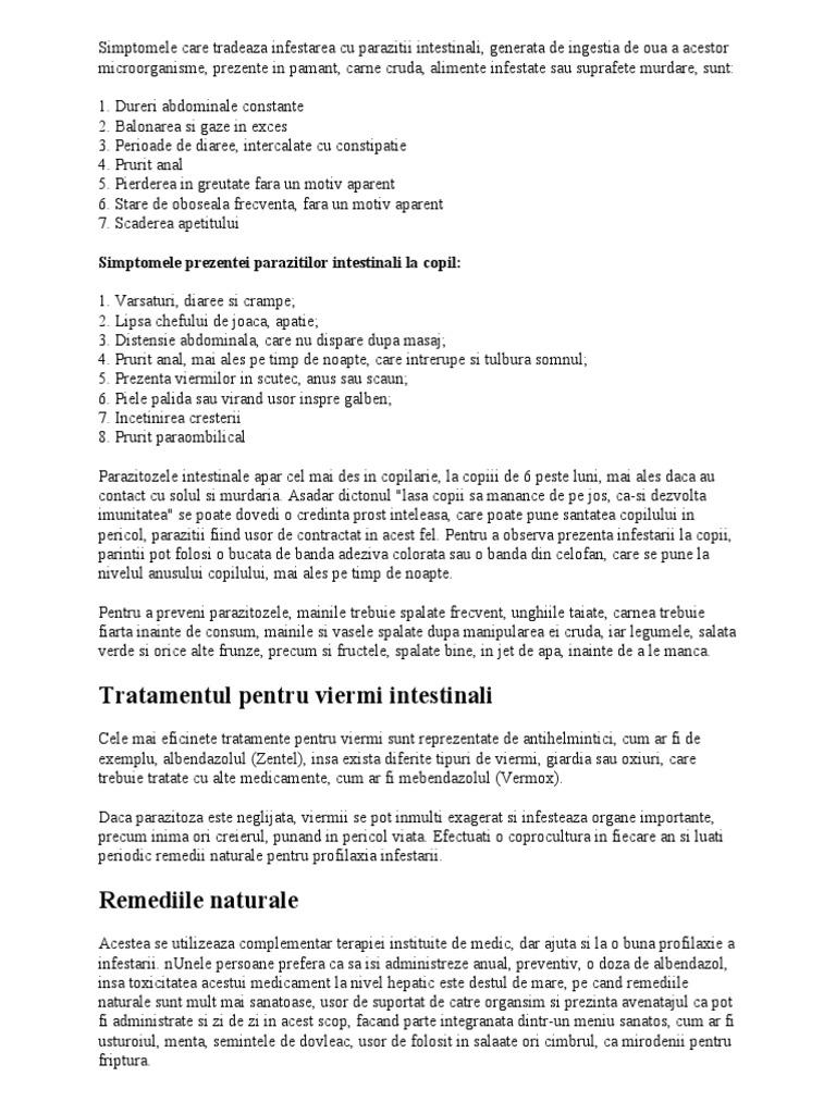 tratamentul paraziților și alergiilor)