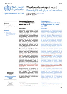 Human papillomavirus vaccines who position paper. Vaccin HPV