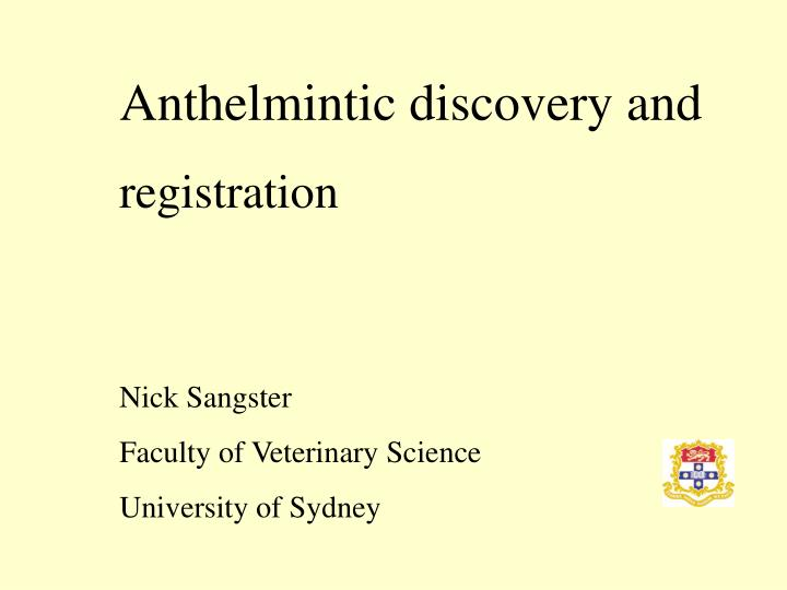 anthelmintic meaning in science)