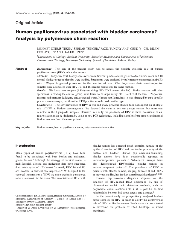 hpv virus in bladder