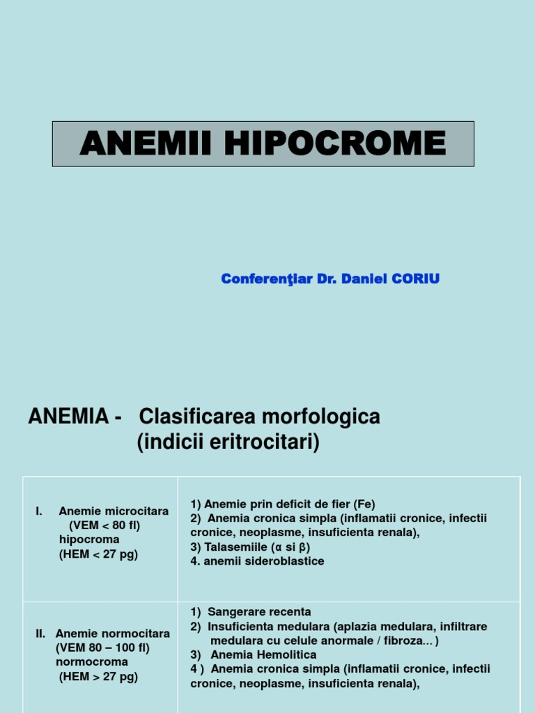 Anemie hipocroma microcitara - Anemie moderata hipocroma