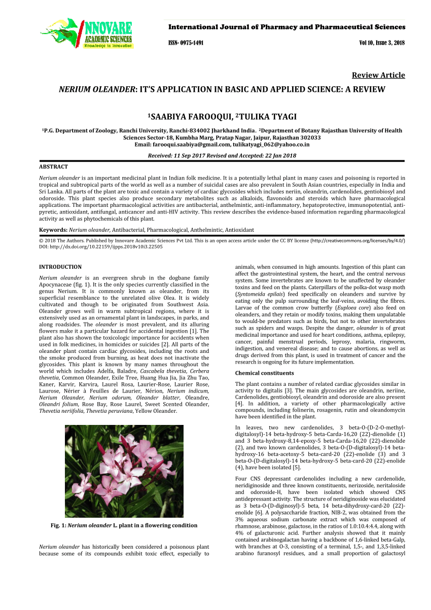 anthelmintic activity of nerium oleander)