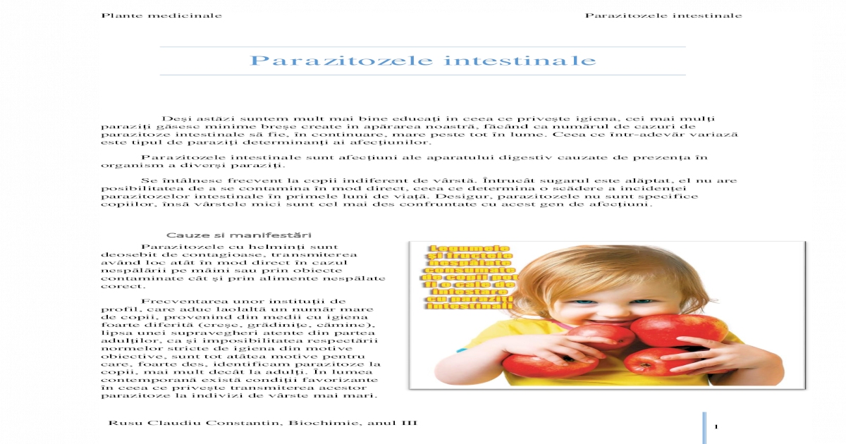 prevenirea copiilor împotriva viermilor și paraziților)