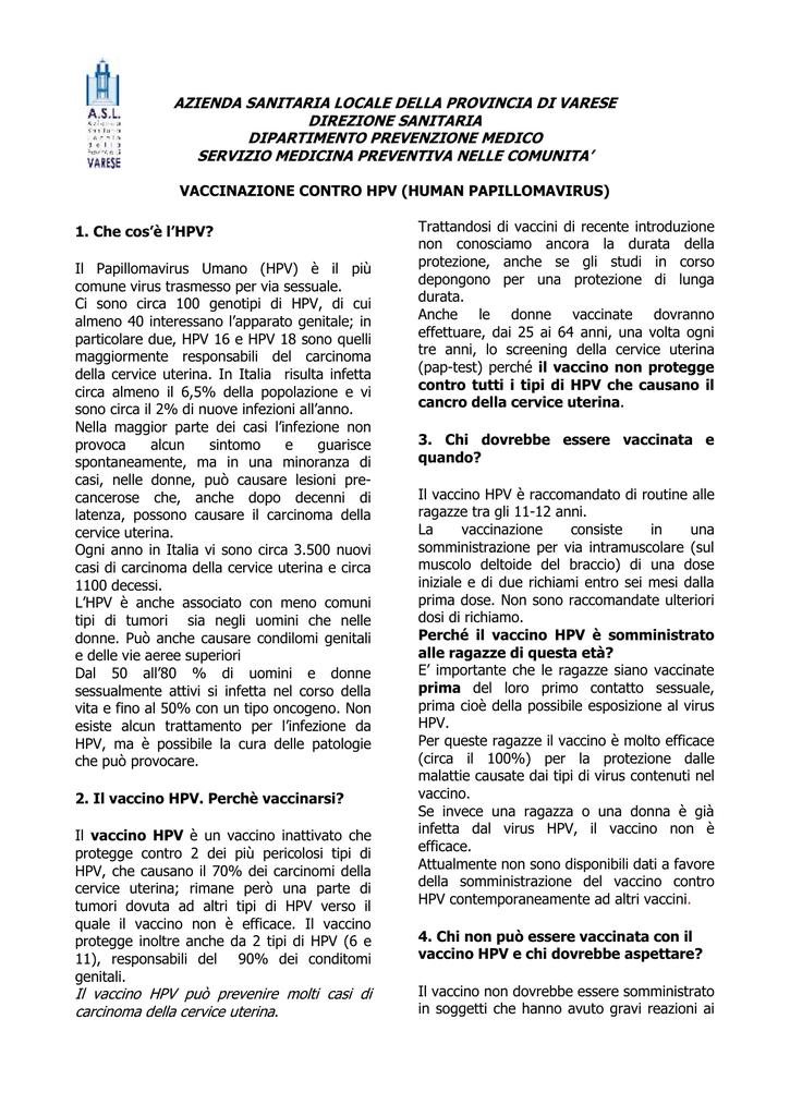 quando vaccinarsi contro papilloma virus
