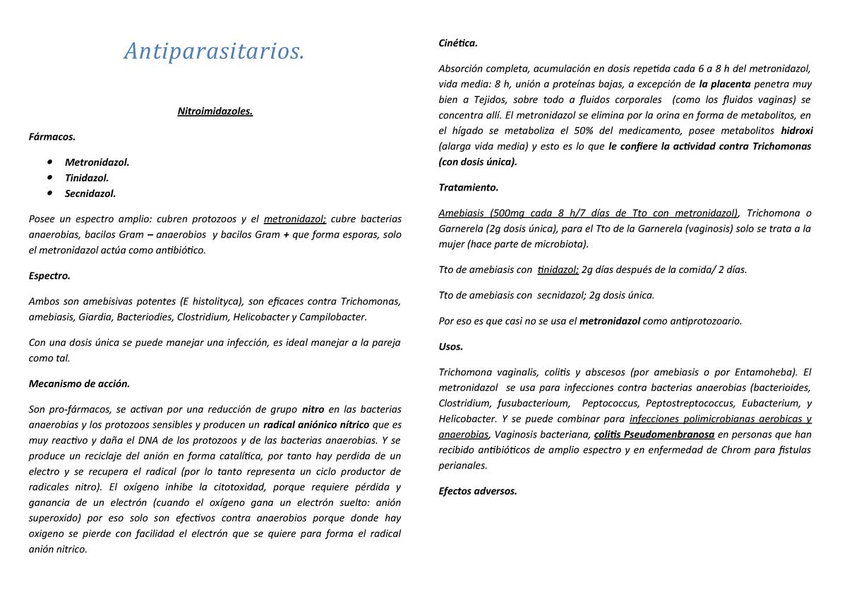 Oxiuros tratamiento secnidazol - divastudio.ro
