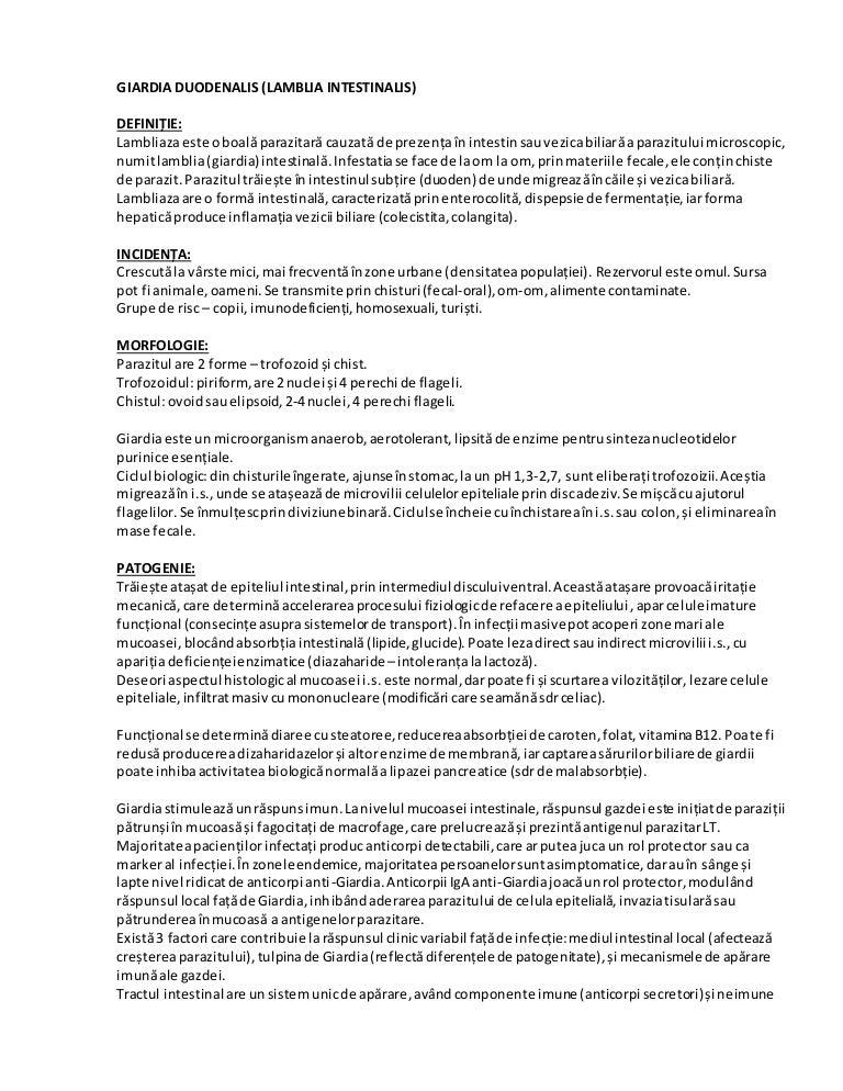 tratamentul cu ornidazol al giardiozei