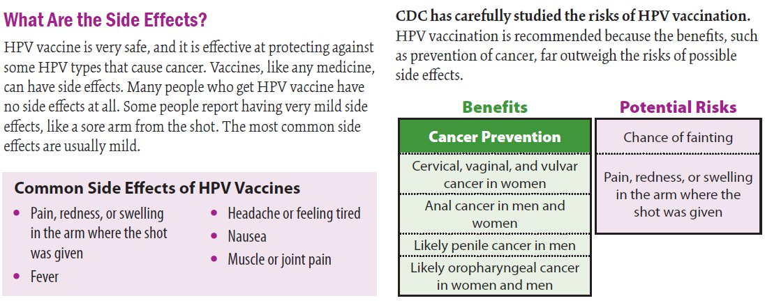 hpv vaccine side effects nausea)