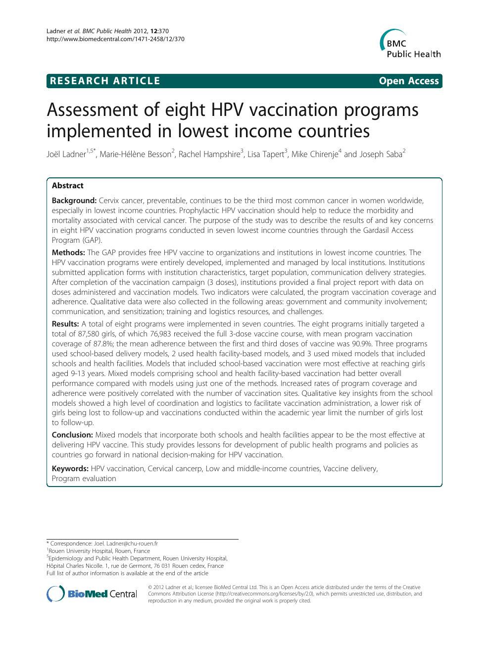 human papillomavirus vaccine in nepal)