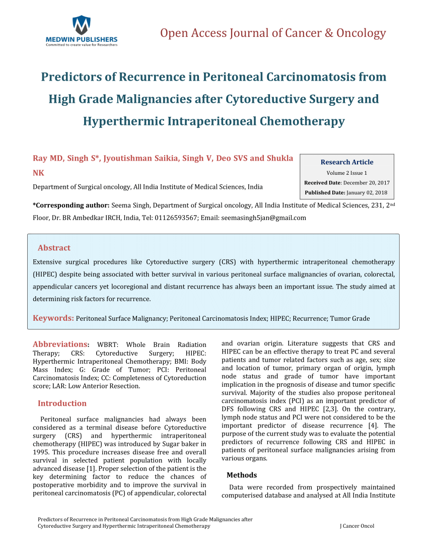 peritoneal cancer recurrence)